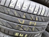 Part worn tyres / bridgestone 245-45-18 x 2- 5.5mm / runflat & normal- london barking