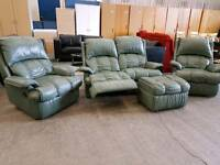 Green leather 2 seater recliner sofa + 2 armchairs