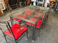 Wrought Iron Dining Table, 6 chairs and Matching Bakers Rack