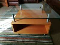 Ikea coffee table beech with glass top