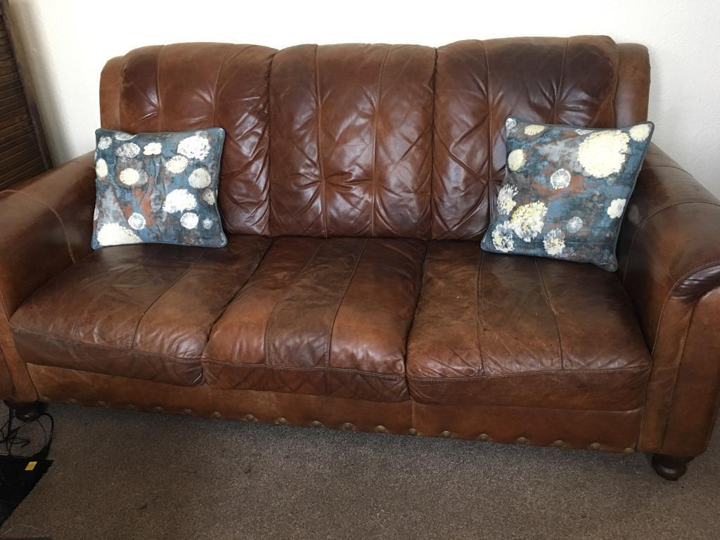 3 Seater Tan Vintage Style Leather Sofa In Fforestfach Swansea  ~ Leather Sofa Vintage Style