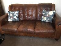 3 Seater tan vintage style leather sofa