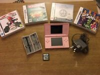 Nintendo DS Lite Pink, Carry Case and Five Games