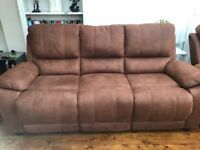 3 Seater rust sofa and matching recliner armchair