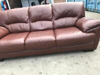 Stunning. Brown/Tan. 3 Seater. Leather Sofa. Only