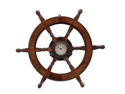 Ship's Steering Wheel 24 w/ Copper Finish Porthole Clock Wood Nautical Decor