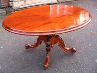 Antique original Victorian mahogany oval tilt top dining breakfast table. c.1850. Restored.