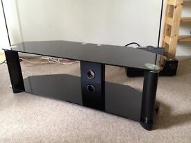 """Black Glass TV Stand with mounting bracket for up to 50"""" TV (20kg)"""
