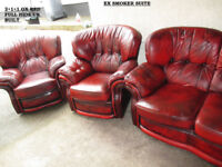CHESTERFIELD suite in classic look , more comfy than a normal one in ox red leather used