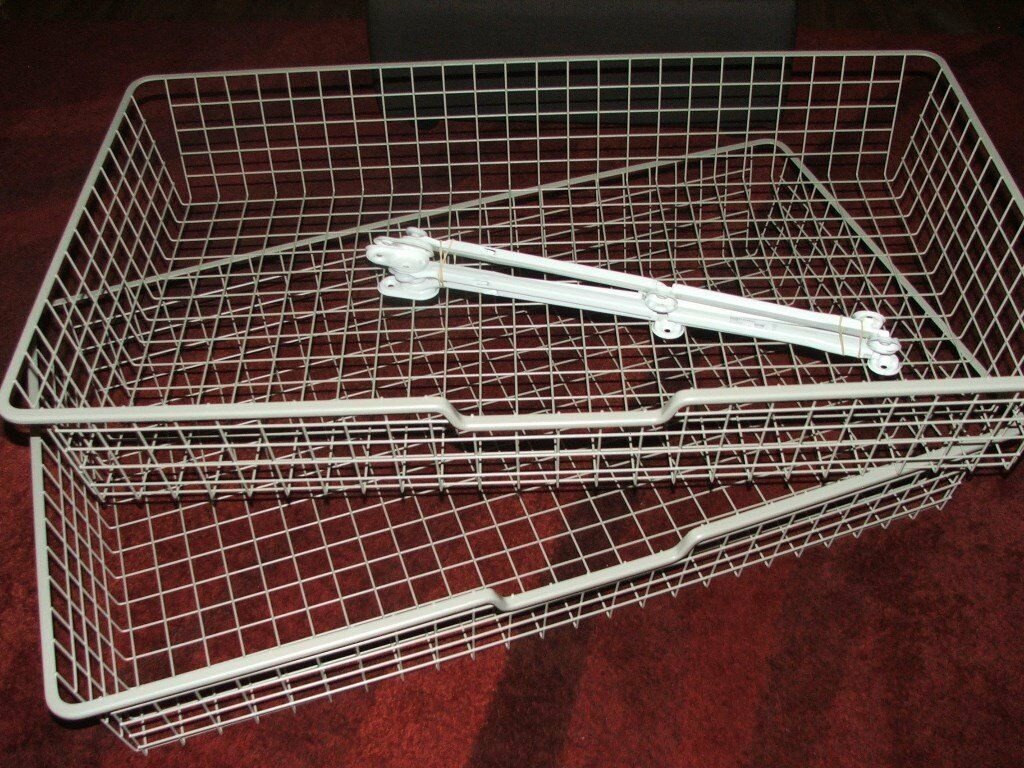 2 x ikea komplement wire drawers baskets for pax