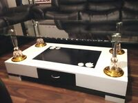 Brand New High Gloss Coffee Table with Wooden Base and Clear Glass top, High Quality white & black