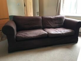 Buy one or both brown fabric sofas 2-seater and 3-seater loose covers