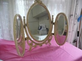 Triple Mirror In Cream With Gold Trim