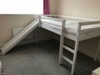Child's Single Bunk Bed with Mattress including ladder and slide, with space underneath for a desk.