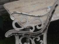 pair of cast iron bench ends, need new slats need clean up £19 buys