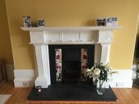 Victorian style cast iron coal effect fireplace with tiled surround