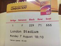 2 IAAF tickets 7 Aug evening. Paid £120