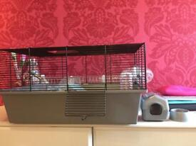 HAMSTER CAGE, ACCESSORIES AND FOOD