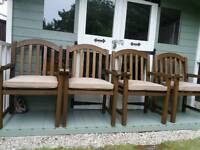 4 heavy wood carver garden chairs