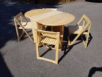 Solid Rubberwood Butterfly Table 4 Folding Chairs FREE DELIVERY 468