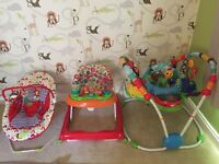 Mamas and papas bouncer, baby einstein jumperoo and red kite walker set