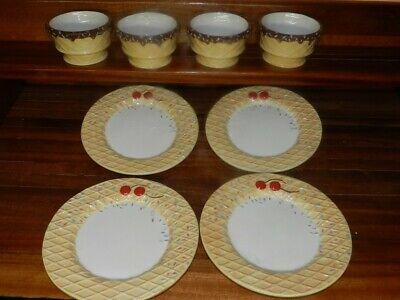 4 Oneida Kitchen Ice Cream Sundae Bowls Cone Chocolate Sprinkles: NEVER USED !!! - Ice Cream Sundae Bowls