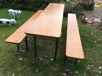 GERMAN BEER KELLER FOLDING TABLE AND BENCH SET