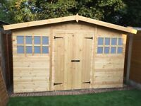 12x10FT PREMIUM QUALITY HEAVY DUTY DOUBLE DOORS RANCH TIMBER GARDEN SHED