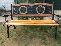 Old Garden Bench, ( pos antique) Cast iron back and ends, 25mm Maple used throughout.