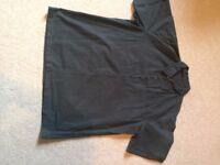Designer black Mahrarishi short sleeved shirt, size large.