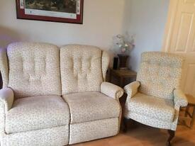 Two seater settee with chair .