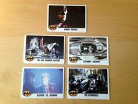 Five Batman The Movie Trading Cards 1989 - Used Condition