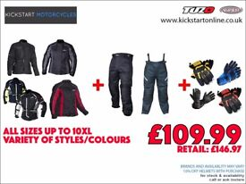 GREAT DEAL MOTORCYCLE TEXTILE JACKET AND TROUSERS AND GET FREE GLOVES -W/PROOF-ARMOUR ETC £109.99