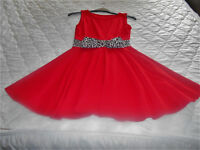 RED DRESS. UK SIZE 12. SLEEVELESS. FULL SKIRT. EASY TO WEAR PULL ON. NO BUTTONS OR ZIPS. VGC