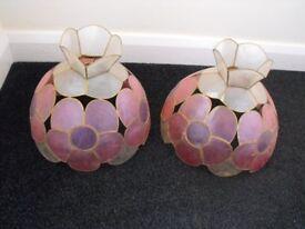 Matching PAIR of Retro CAPIZ-SHELL 10inch Diam Ceiling LIGHT SHADES - pink/lilac/cream