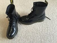 Doc Marten boots- black patent size 4 ladies - like new only worn once. £50 ( new price £90)
