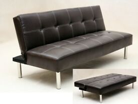 Brown leather sofa bed/futon with cup holder, FREE DELIVERY