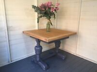 Solid Oak Refectory Style Vintage Draw Leaf Extending Dining Pub Table