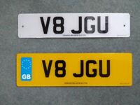 V8 JGU Special number plate for proud Jaguar owners