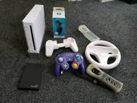 Nintendo Wii with 254 full games & emulators and accessories. The games are on a 500gb hardrive