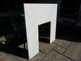 Marble white/light cream/beige fireplace back for fireplace surround and fire
