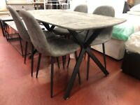 New grey concrete effect dining table with 6 chairs £359 AVAILABLE TODAY