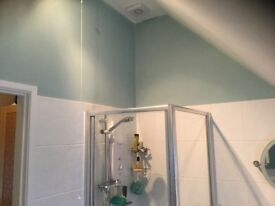 Bristan Electric Shower, shower screen, white basin with taps and toilet