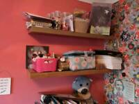 2 x oak effect floating shelves