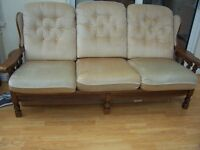 three seater settee and one chair with removable cushions and covers which are washable.