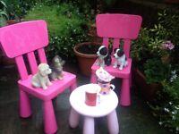 IKEA KIDDIES MAMMUT PINK CHAIRS & TABLE £19 NEW £9 ONO