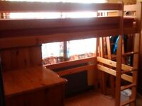 Child's High Sleeper Pine Bed - Dismantles for transport