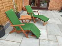 Solid Teak Reclining Steamer Chairs & Table