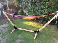 Wooden Hammock with Steel Frame Sun Outdoor Garden Freestanding Patio Lounger