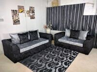 BRAND NEW DYLAN CORNER AND 3+2 SEATER SOFA SUITE ***SILVER & BLACK COLOR CRUSHED VELVET FABRIC
